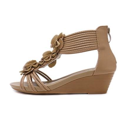 Giles Jones Wedge Flip Flops Flat Sandals for Women,Boho