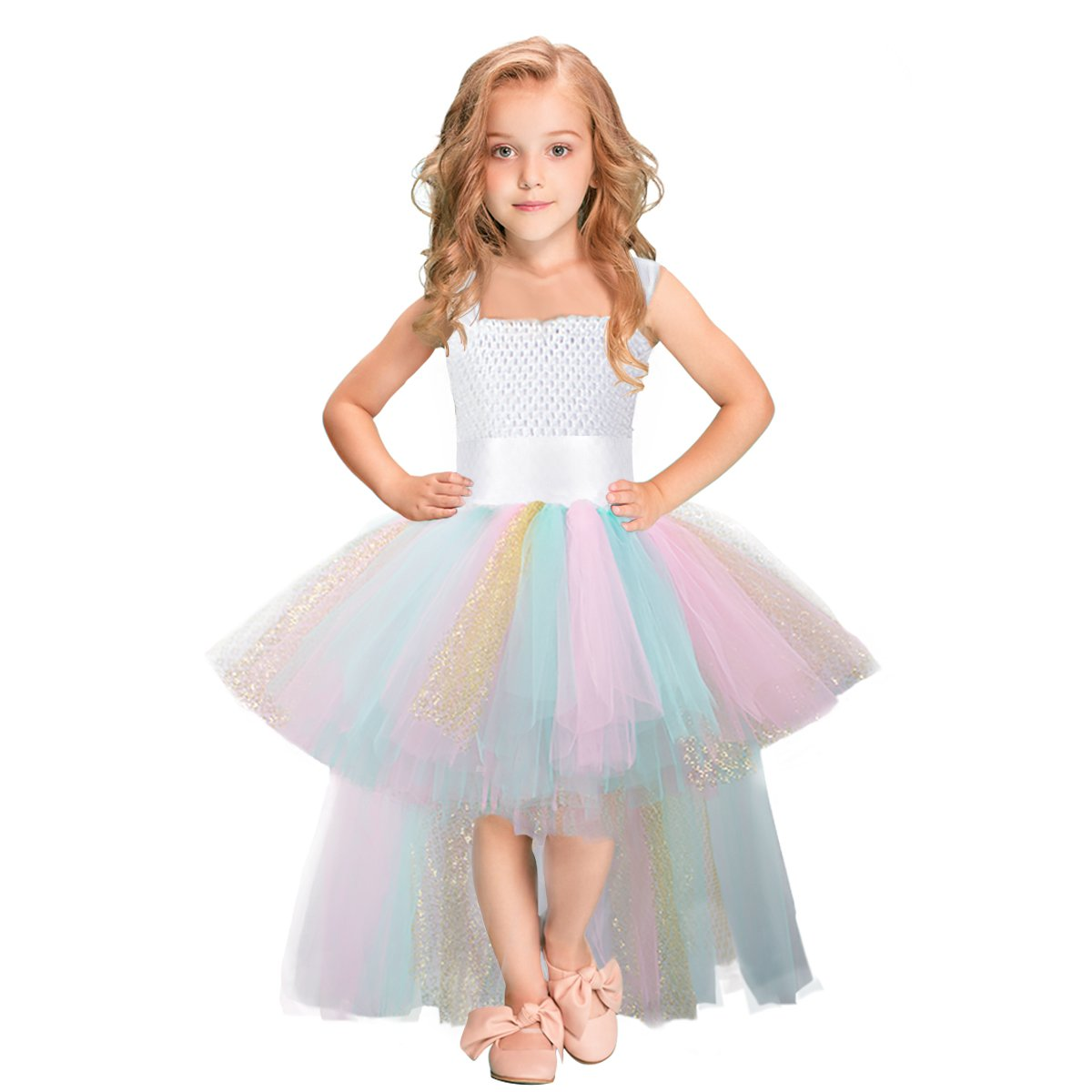 Tutu Dress for Girls Handmade Rainbow Tulle Dress for Unicorn Party Special Occasion (Mint+Pink+Gold)