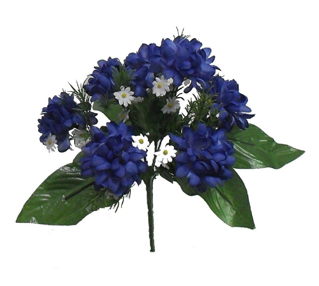 Mini Mums X 7 Bushネイビーブルーシルク結婚Flowers Bouquetsセンターピース装飾 B074FXJ35L