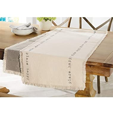 Mud Pie Reversible Happy Table Runner