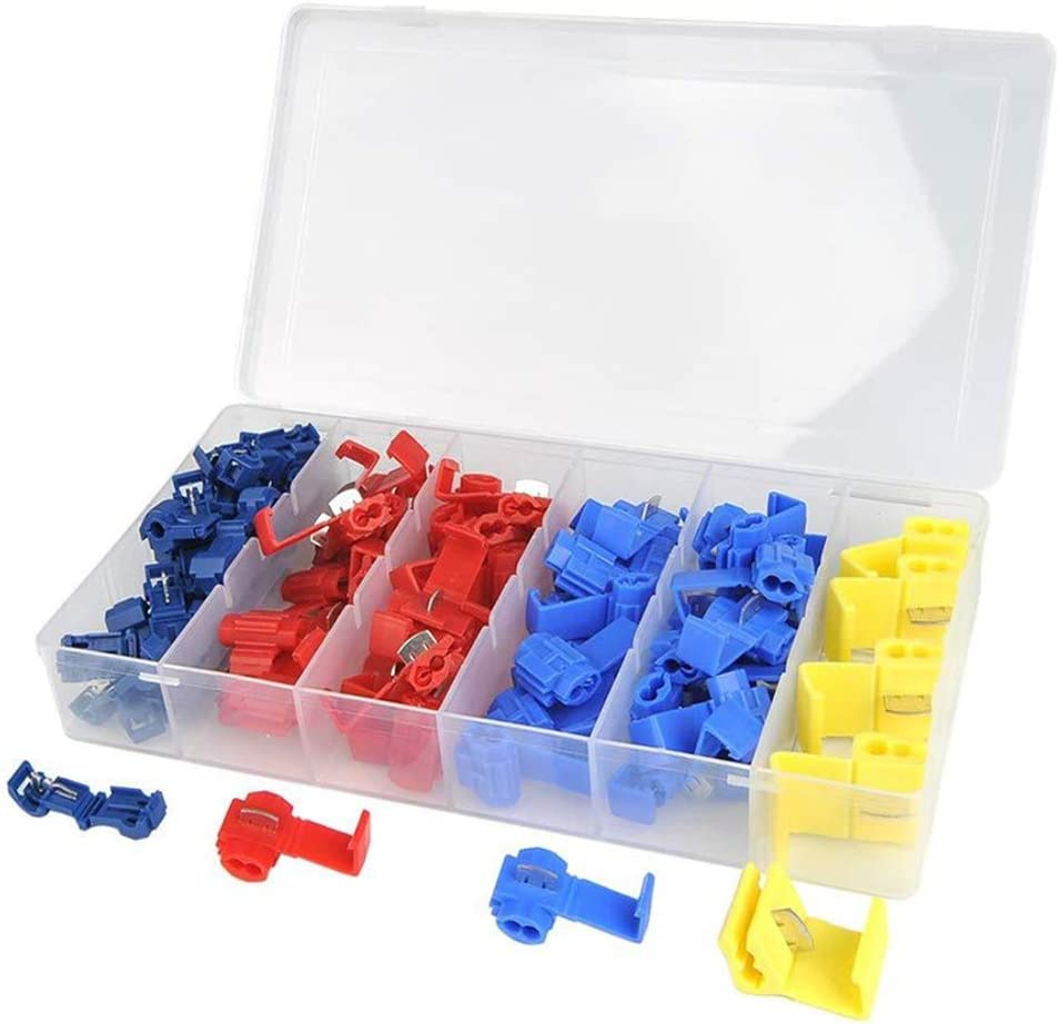 YILE 65pcs T-Tap Wire Terminals T-Type Terminal Connectors Quick Splice Wire Terminals Kit with Storage Case