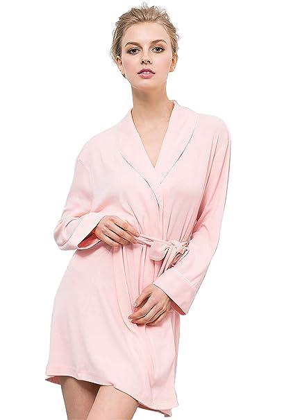 JHKJ Bata De Baño para Mujer Ropa De Dormir De Punto Suave Cuello De Kimono Ropa