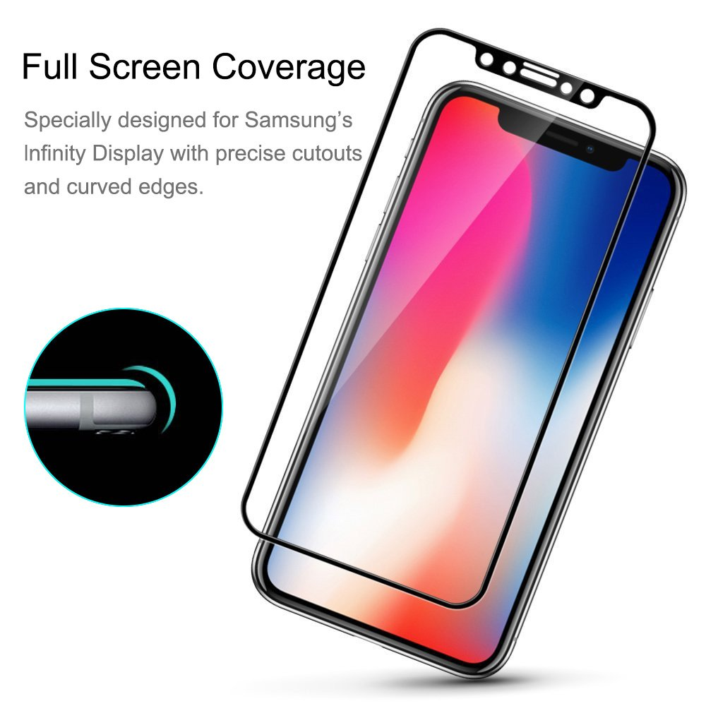 10/mit Rahmen f/ür iPhone, kratzfestem Bubble mit 9H H/ärtegrad Schutzfolie HD-klar geh/ärtetes Glas Displayschutzfolie 0.3/mm d/ünn 2/St/ück AROC iPhone X Displayschutzfolie