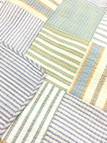 Spa Striped Patchwork 3-Piece Quilt Set (Full/Queen Size) by Cozy Line Home Fashions (Image #3)