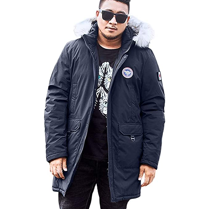 RedBrowm Mens Winter Medium Length Zipper Plus Size Hooded Pocket Thickened Cotton Coat at Amazon Mens Clothing store:
