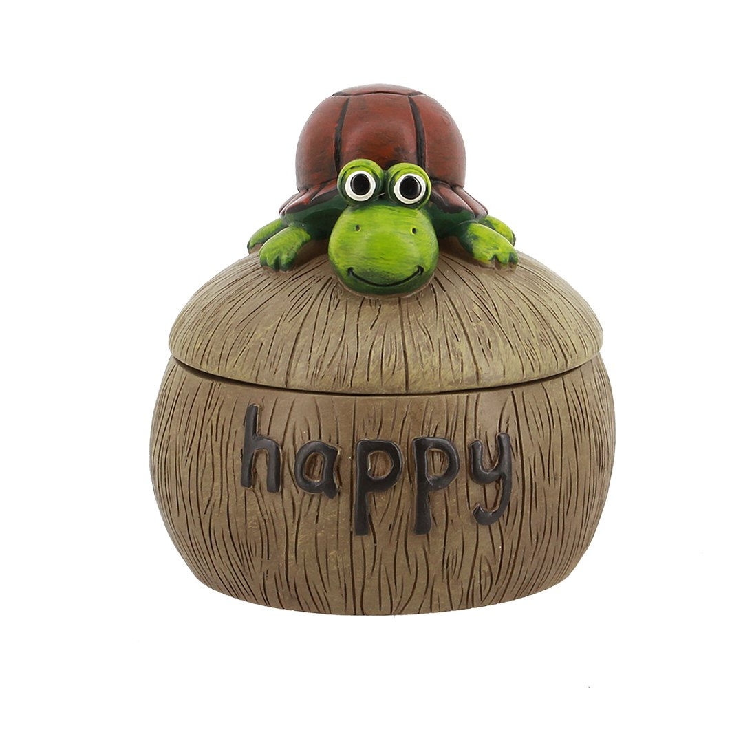 Macinta Natural Resin Craft Mini Animals Creative Round Ashtray Home Decoration Resin Artware Ornament(Tortoise)