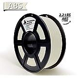 Blanco ABS 3D Filamento, Materiales de impresora 3D, Precisión dimensional +/- 0.02 mm, 2.2 LBS (1 KG) Carrete