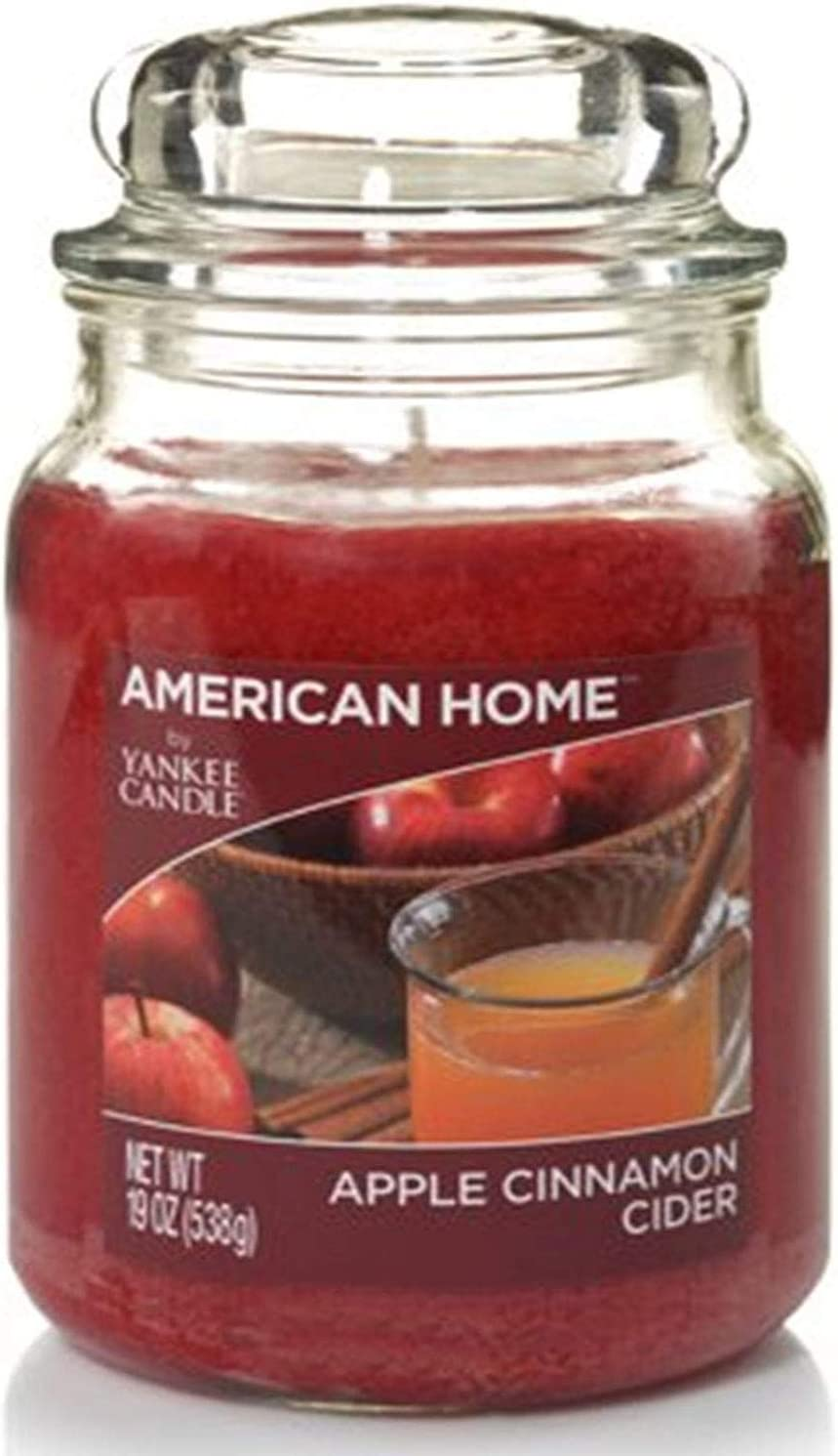 YANKEE CANDLE 241292 Scented Fragrance Candles American Home Collection Luxury Classic Large 19oz Glass Jar 538g[Apple Cinnamon Cider], Youth 11-13, Red