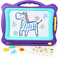 Hailey&Elijah Magnetic Drawing Board Colors Writing Painting Sketching Pad with 5 Stamps and Sticker for Toddler Boy…