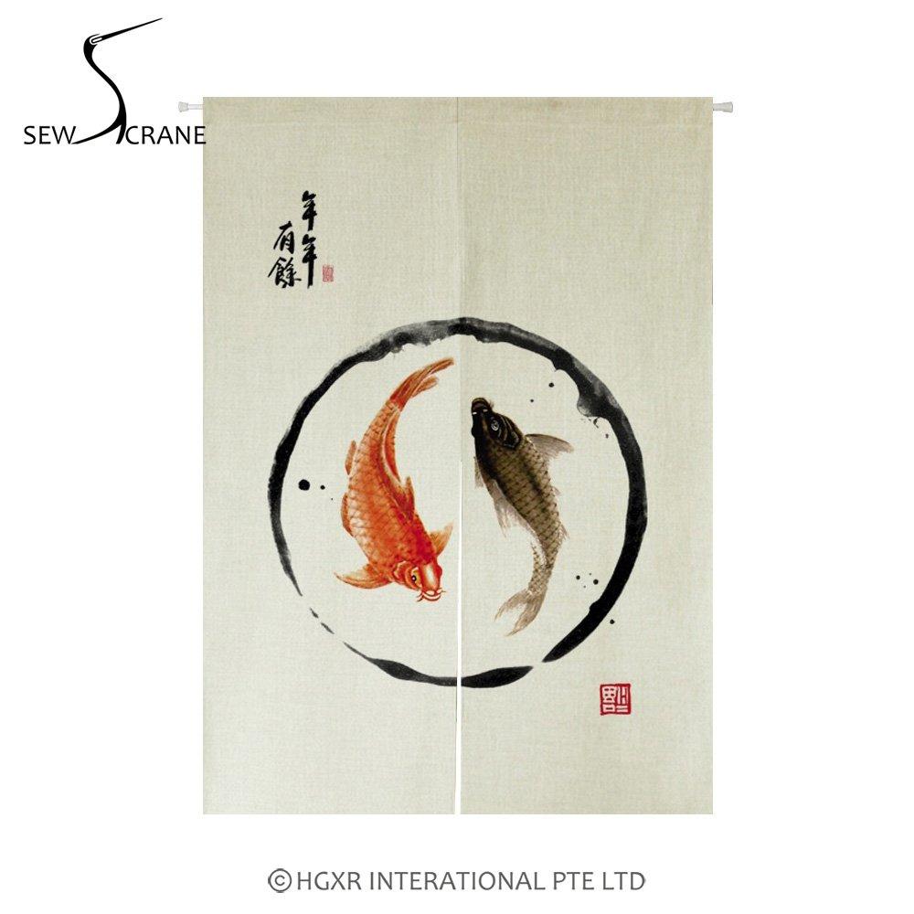 Two Carps Greeting Words Nian Nian You Yu Home Restaurant Door Curtain Noren Doorway Room Divider, 31.5'' x 47.2''