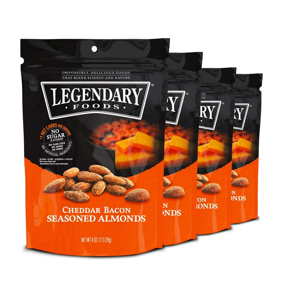 Legendary Foods Gourmet Flavored Almonds   Keto Diet Friendly, Low Carb, High Potassium, No Added Sugar, Good Protein & Fat   Cheddar Bacon (4oz, Pack of 4)