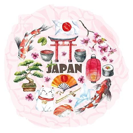Pegatina de pared Guardería Asia Gato Afortunado Bailando Asia Deco para encolar Japón China bordadoras varones