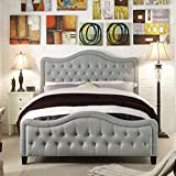 Rosevera Platform Bed Gray Turin Upholstered Panel, Queen, Grey