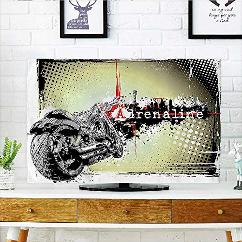 Auraisehome Dust Resistant Television Protector Image of Motor with Adrenaline Quotation Poster Print Black Charcoal Grey and White tv dust Cover W30 x H50 INCH/TV 52