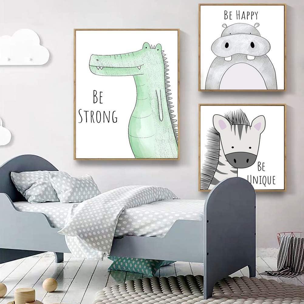 Lorcoo Lot de 3 posters pour chambre denfant Motif tableaux animaux format DINA4 sans cadre