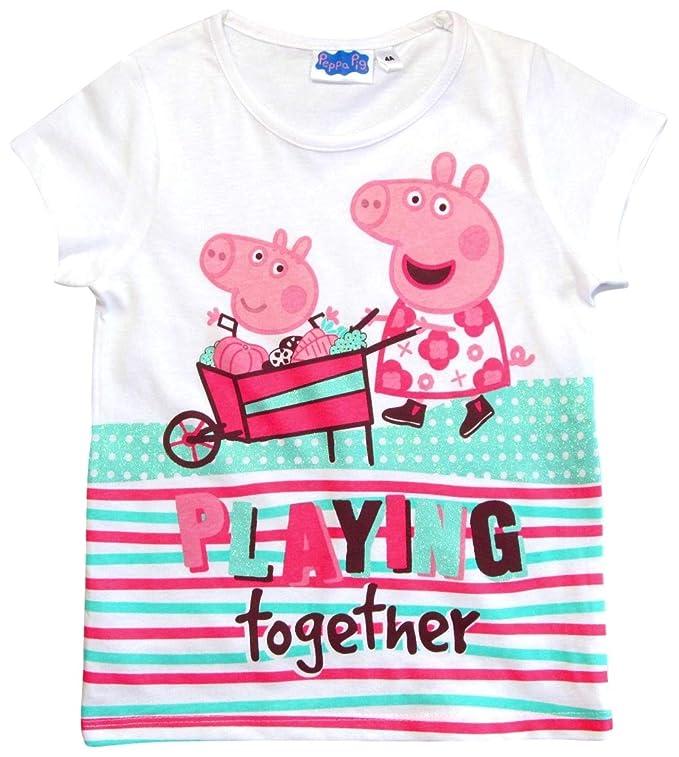 Peppa Pig Kinder T-Shirt Größe 98-128 Peppa Wutz weiß