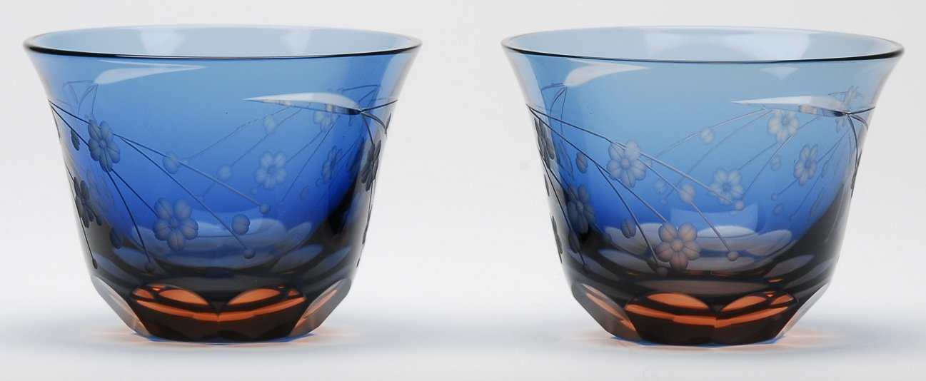 Japanese Edo-Kiriko (Cut Glass) Sake Cups A Pair of Cherry Blossom Pattern by KIMOTO GLASSWARE
