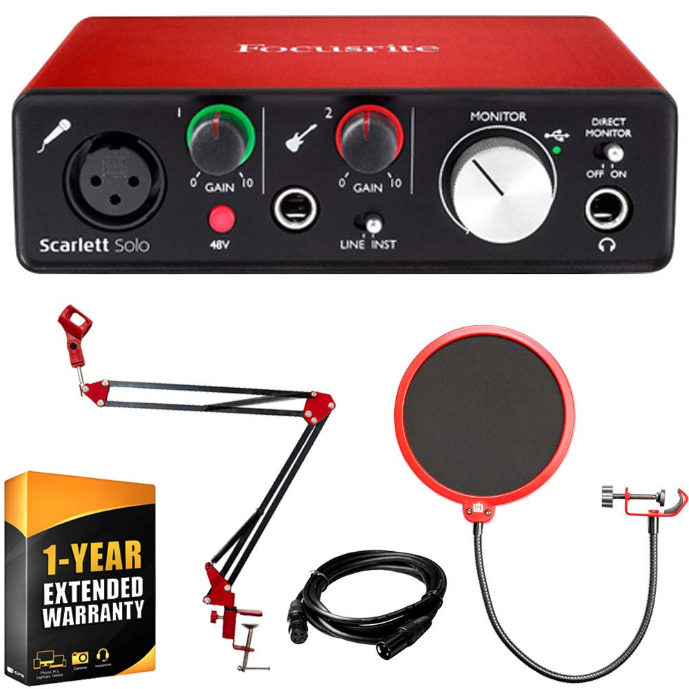 Focusrite Scarlett Solo USB Audio Interface (2nd Gen) w/Pro Tools & More +Deco Gear Adjustable Mic Arm +Deco Gear Universal Pop Filter + Deco Gear XLR Male to Female Cable +1 Year Extended Warranty