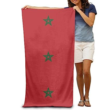 Toallas de playa de la bandera de Marruecos de Yissalvavunaz, lujosas, 100% poliéster