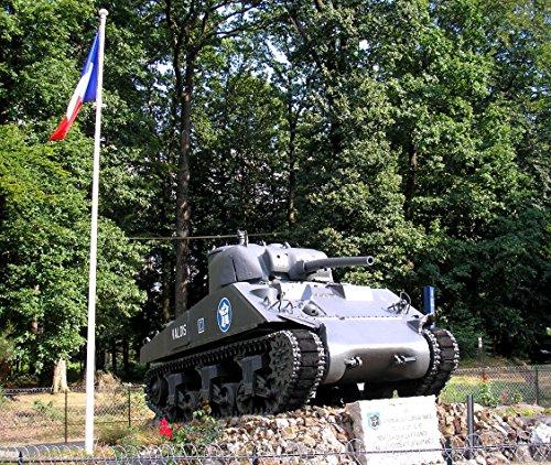Home Comforts Canvas Print Le Bouillon (Normandie, France). Le Char Sherman M4 A2 'Valois' de la IIE DB au Carrefour de la croi Stretched Canvas 10 x (Normandie Canvas Print)