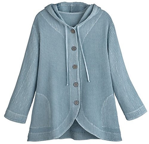 Fashion Focus Women's Tunic Jacket - Hooded Button-Front Waffle Sweater - Blue Stone - XL (Waffle Colored Blue)