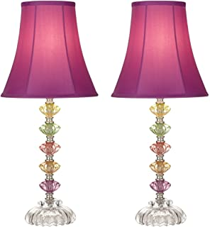 Bohemian Orchid Stacked Glass Table Lamp Set Of 2
