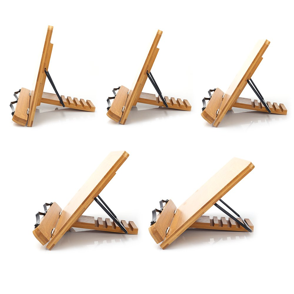 Bamboo Book Stand,HENGSHENG Adjustable Book Holder Tray and Page Paper Clips-Cookbook Reading Desk Portable Sturdy Lightweight Bookstand-Textbooks Bookstands-Music Books Tablet Cook Recipe Stands