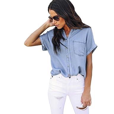 2019 professionnel grande remise pour ramasser Reaso Femme Denim Chemise Casual Blouse Crop Tops Bleu Jean Bouton Manche  Courte T-Shirt Mode Hemd Chic Chemisier Elegant Col V Veste Crop Top