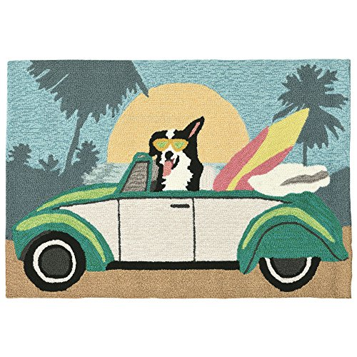 Pastel Acrylic Rug - Liora Manne FT112A75044 Folly Surfer Dog Rug, Indoor/Outdoor, Pastel