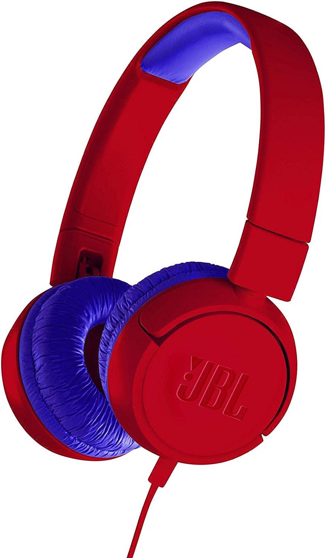 JBL JR300 - Auriculares supraaurales para niños con un divertido set de pegatinas para diseño personalizado, Sonido inocuo con limitador de sonido de 85 dB, Color Rojo