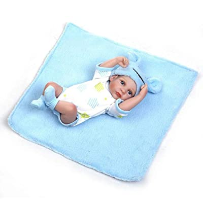 """TERABITHIA Miniature 10\"""" Realistic Adorable Newborn Baby Doll Kits Silicone Full Body Washable for Boy: Toys & Games [5Bkhe0905863]"""