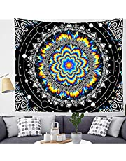 Encoby Funny Mandala Tapestry Indian Hippie Psychedelic Wall Hanging Tapestries Boho Trippy Backdrop Divider for Bedroom Living Room Dorm Home Decor