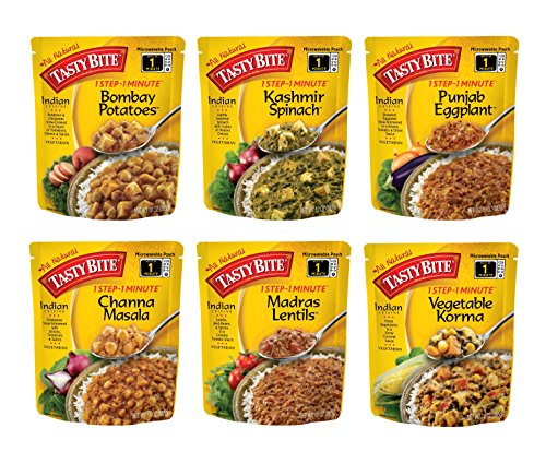Tasty Bite Indian Entree Variety Pack 10 Ounce 6 Count, Fully Cooked Indian Entrées, Includes Bombay Potatoes, Kashmir Spinach, Punjab Eggplant, Channa Masala, Madras Lentils, Vegetable Korma (Pack Ready)