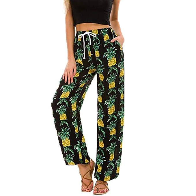 Pantalones Mujer Verano 2019 Largos Moda Yoga Boho Cintura Baja con Estampado Floral para Harem CháNdal