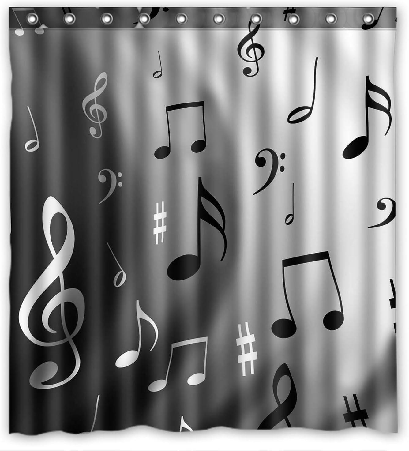 ZHANZZK Music Notes Bathroom Waterproof Shower Curtain 60x72 Inches