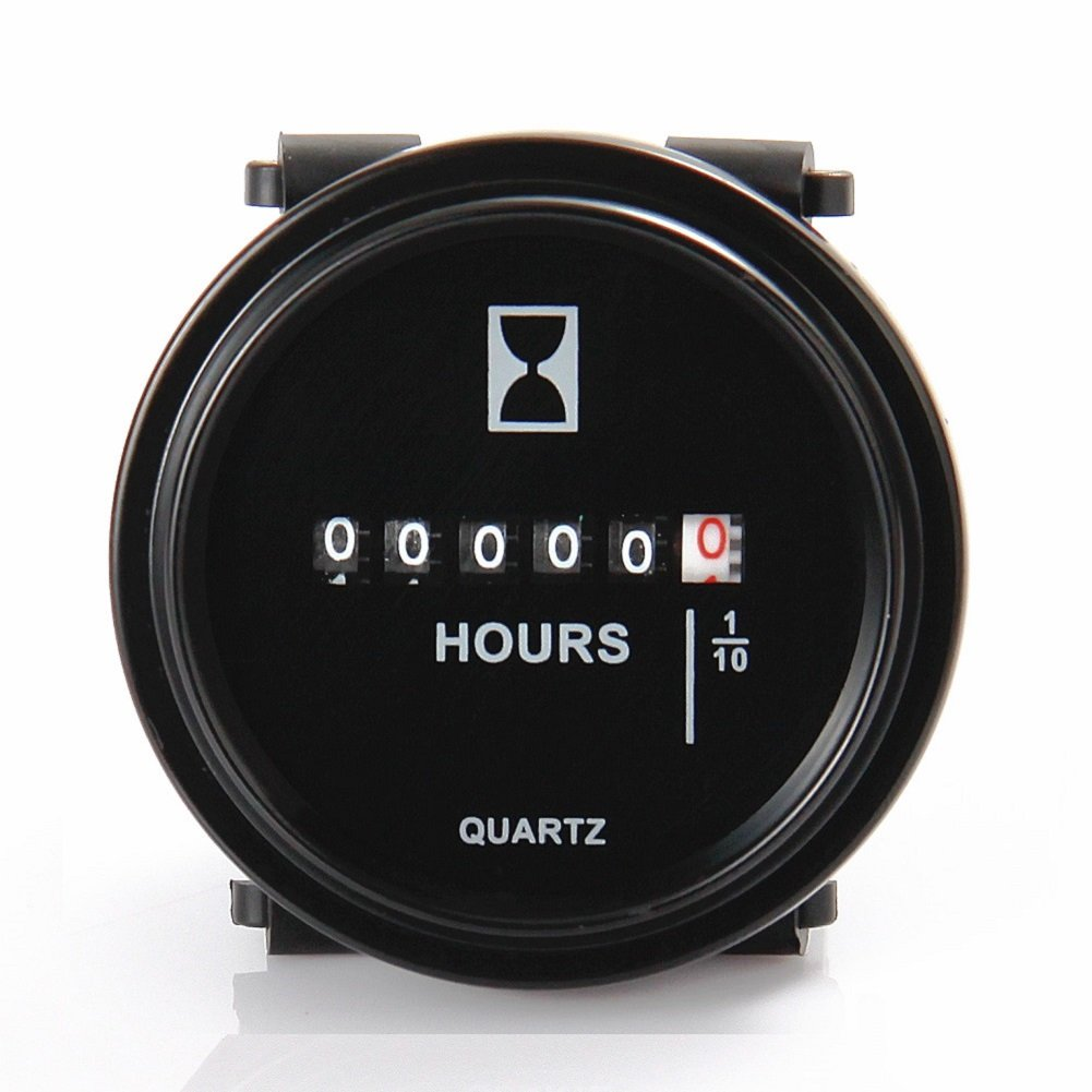 SEARON DC 12v 24v 36v 48V 60V 72V Quartz Hour Meter Round for Marine Boat Engine Motocross Marine Motorcycle Snowmobil ATV Boat Generators Tractor Lawn Mower Green 4350402309