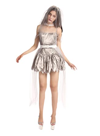 Amazon.com JJ,GOGO Zombie Bride Costume , Sliver Halloween
