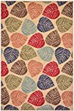 Rubber Collection Leaves Multi-Color Printed Slip Resistant Rubber Back Latex Contemporary Modern Area Rugs and Runners (1161/1162) (Multi Leaves, 3'3''x5')