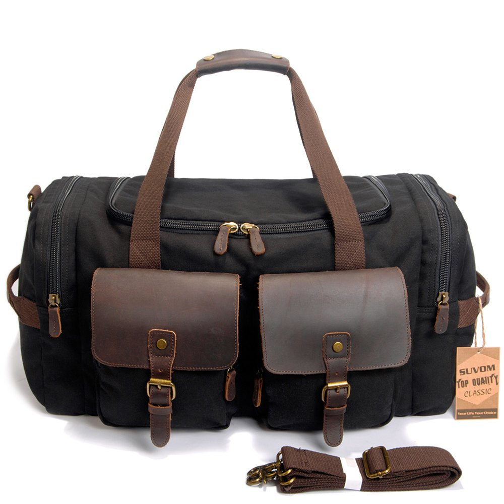 Amazon.com   SUVOM Canvas Duffle Bag Leather Weekend Bag Carry On Travel Bag  Luggage Oversized Holdalls for Men and Women(Black)   Travel Duffels c8c9ff876a