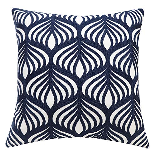 SLOW COW Cotton Embroidery Decorative Throw Pillow Cover Case for Couch Sofa Home Decor, Modern Geometric Accent Pillow Cushion Cover 18 x 18 Inches, Navy Blue, 1PC