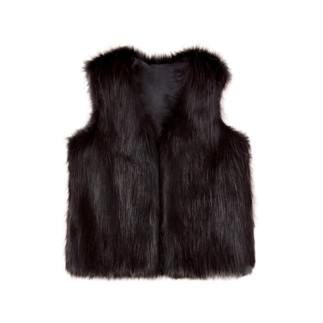 Fineser TM Baby Girls Soft and Cozy Open Front Faux Fur Vest Winter Thick Warm Sleeveless Jacket