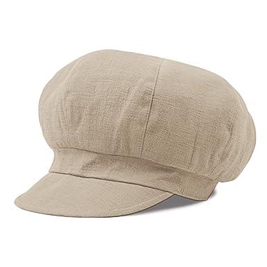41e3af18166 YaWindYa Womens 6 Panel Newsboy Cabbie Flat Cap Baker Boy Gatsby Painter Beret  Hat 55-57CM (Beige)  Amazon.co.uk  Clothing