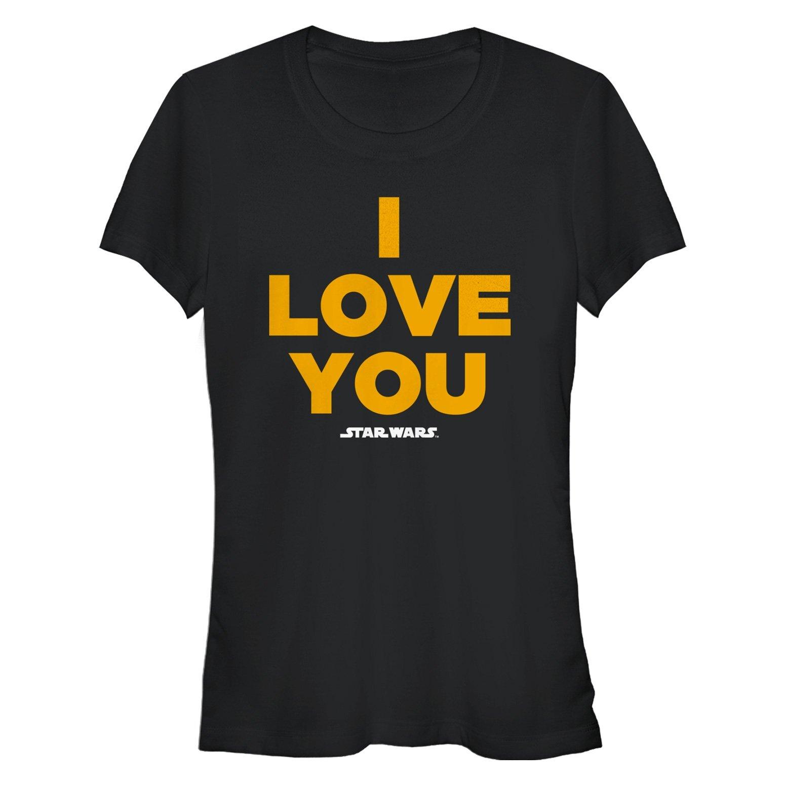Star Wars Women's I Love You Crew Neck Graphic T-Shirt, Black, XXL