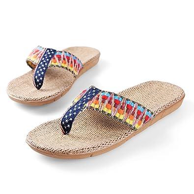 Womes's Flax Straw Rhinestone Flip Flop Sandals