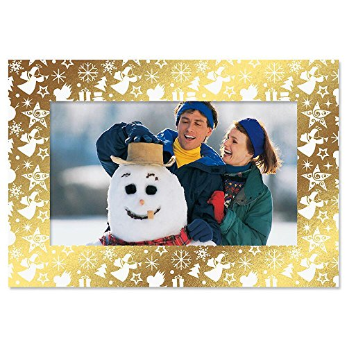 Deluxe Christmas Card Photo Frames - Gold Foil Border, Set of 18 Cards and Envelopes, Fits 4 x 6-inch Photos, by Current