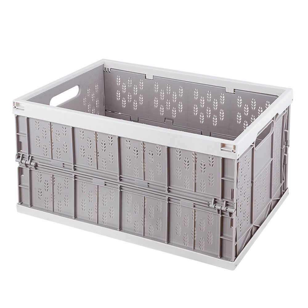 Mookis Collapsible Crates Trunk Organizer Storage Bin/Container for Car Home & Office Use (Grey + White)