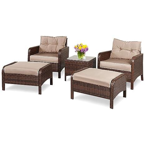 COSTWAY Conjunto Muebles de Ratán para Comedor Salón Jardín ...