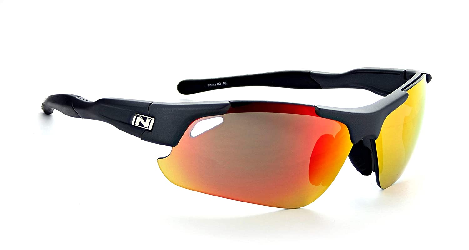 Optic Nerve Neurotoxin 3.0 Sunglasses, Matte Carbon with Black Tips, 3 Sets Smoke with Red Zaio Copper Clear Lens