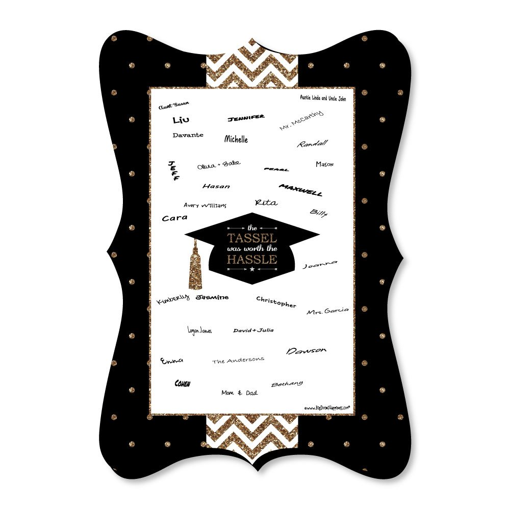Big Dot of Happiness Gold - Tassel Worth The Hassle - Unique Alternative Guest Book - Graduation Party Signature Mat