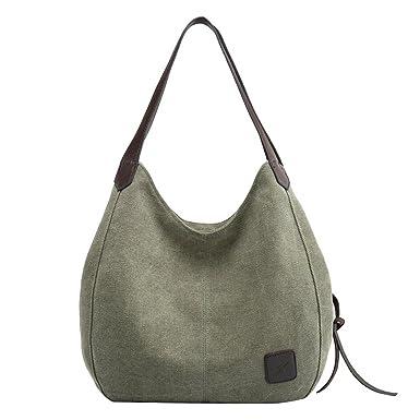 4cf384374765d PB-SOAR Damen Mädchen Modern Canvas Shopper Schultertasche Handtasche Henkeltasche  Hobo Bag Beuteltasche (Armeegrün